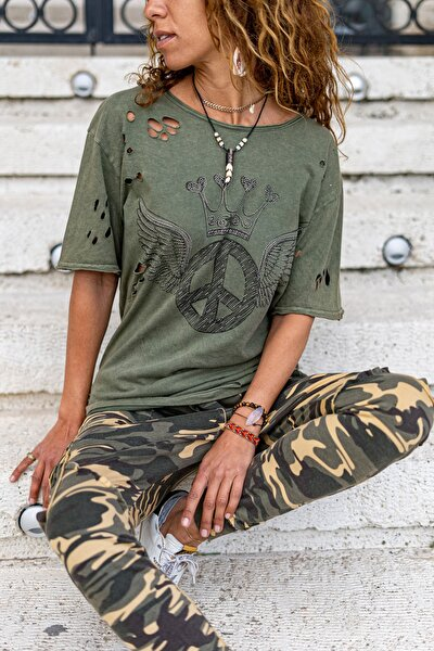 Kadın Haki Yıkamalı Baskılı Lazerli Salaş T-Shirt GK-RSD2023