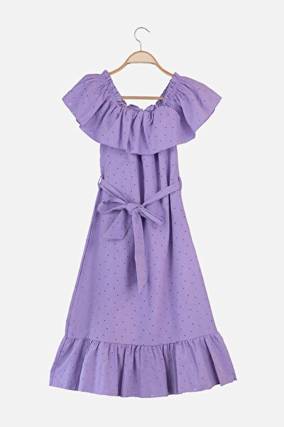 Mor Kuşaklı Karmen Yaka Brode Elbise TWOSS21EL2997