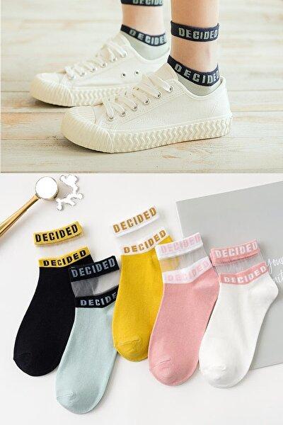 Kadın Desenli Tül Çorap 5 Çift