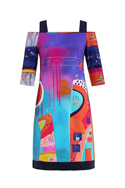 Kadın Renkli Örme Elbise