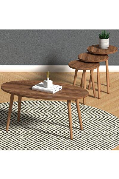 Elips Salon Seti Ceviz- Orta Sehpa Ve Zigon Sehpa