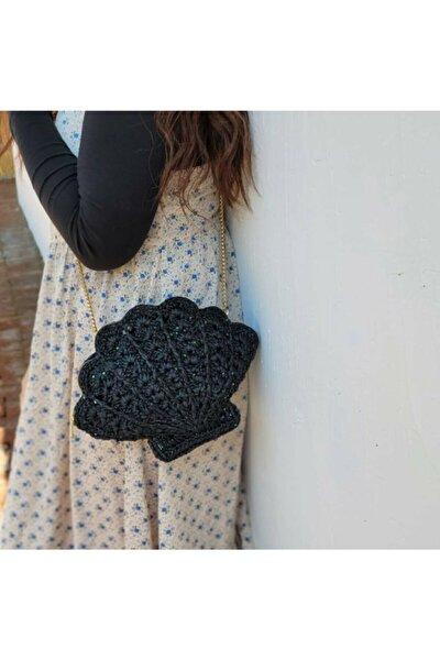 Siyah Midye Desenli Mini Çanta Hasır Rattan Örgü Çanta