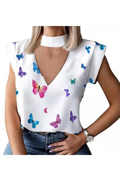 Kadın Kelebek Dijital Baskılı Bluz