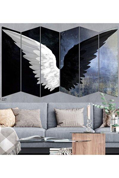 Siyah Beyaz Kanat 6 Parça Mdf Duvar Tablo Seti