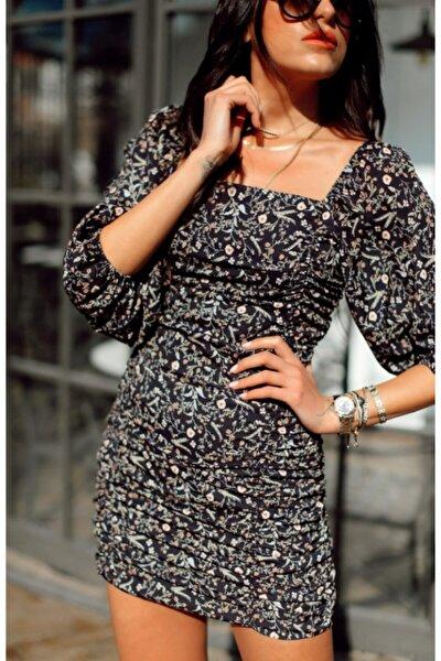 Kadın Siyah Çiçek Desenli Büzgülü Elbise