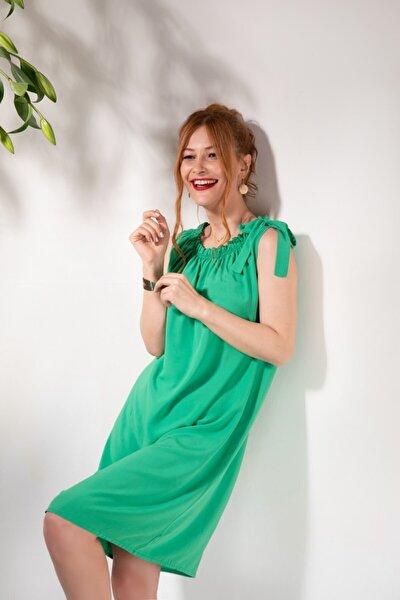 Kadın Yeşil Faye Kısa Elbise