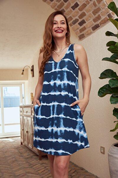 Kadın Lacivert Mycolor Batik Desenli Kolsuz Elbise