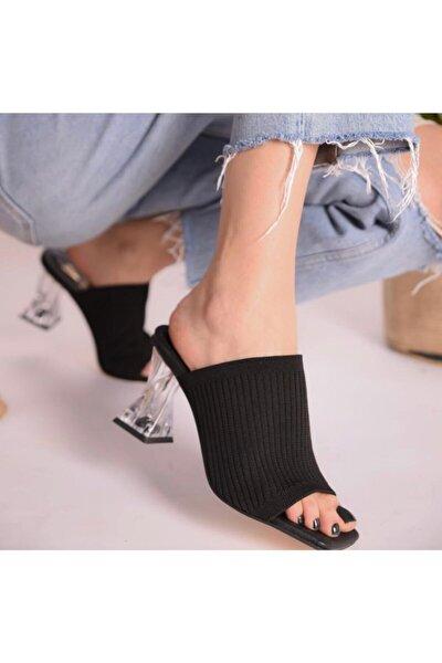 Kadın Siyah Şeffaf Topuklu Triko Terlik