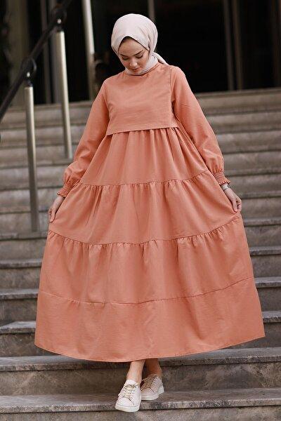 Tek Kat Detay Salaş Elbise - Somon