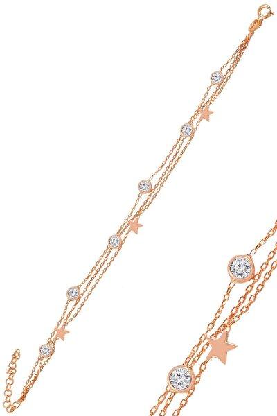 Gümüş Rose Zirkon Taşlı Yıldız Figürlü Bileklik