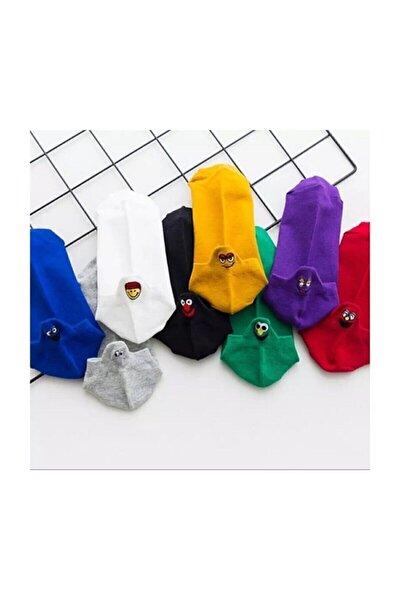 Emoji Çoraplar 8'lı Gökkuşağı Paketi Resimde Görülen Renkler