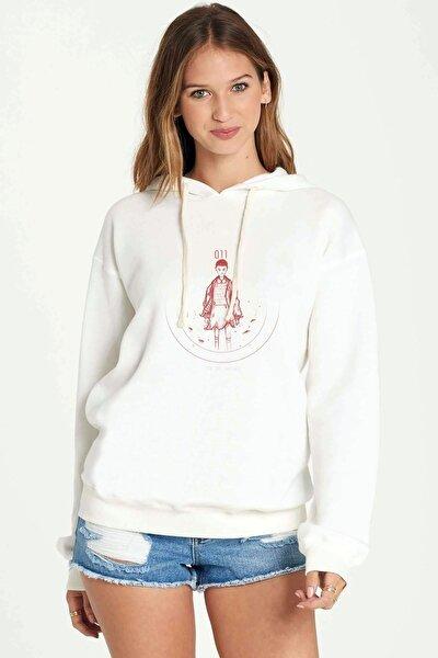 Stranger Things 11 Eleven Millie Bobby Baskılı Beyaz Kadın Örme Kapşonlu Sweatshirt Uzun Kol