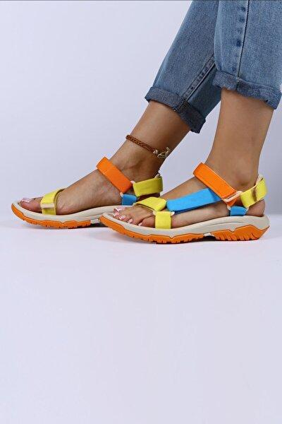 Kadın Sarı-Turuncu- Mavi Cırtlı Sandalet