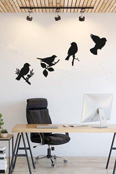 Lazer Kesim Modern Dörtlü Kuş Duvar Dekoru