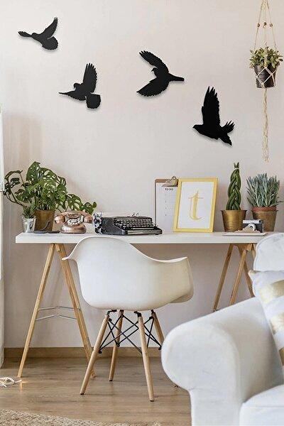 Lazer Kesim Dekoratif Modern Dörtlü Kuş Duvar Süsü