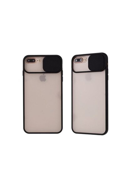 Iphone 7 Plus / 8 Plus Uyumlu Siyah Kamera Lens Korumalı Sürgülü Kılıf
