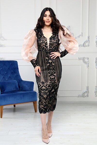 Kadın Siyah Cam Organze Garnili Dantel Tasarım Elbise