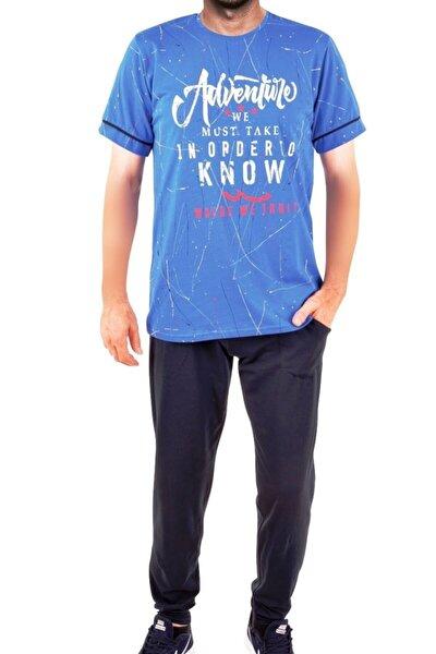 Mavi Erkek Pijama Takımı Kısa Kollu Cepli Pamuk
