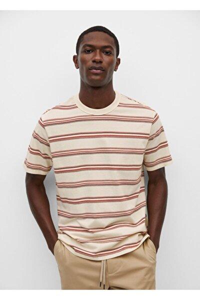 Erkek Ekru Pamuklu Çizgili Tişört