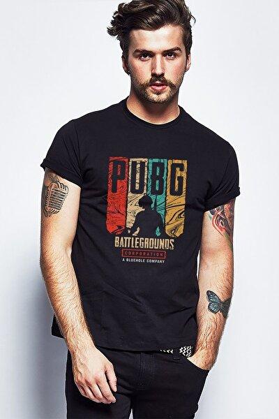 Pubg Battlegrounds Corporation Baskılı Siyah Erkek Örme Tshirt