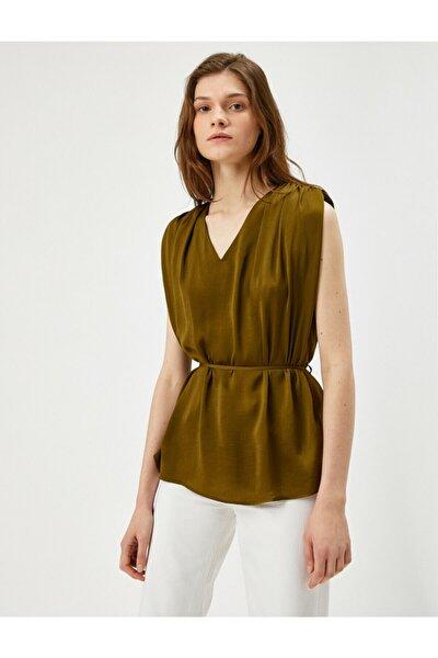 Kadın Yeşil Belden Baglamali Bluz