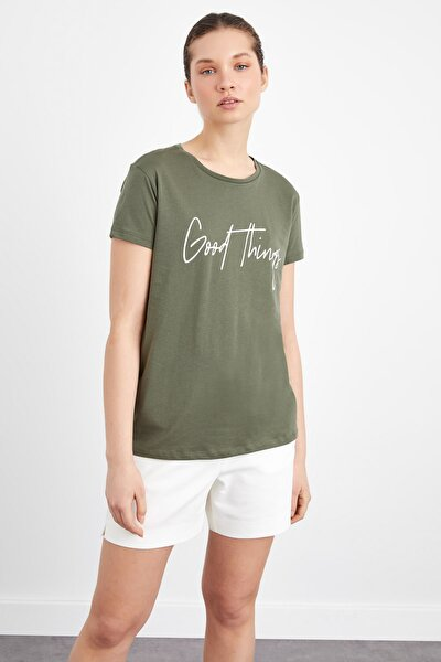 Kadın Haki Baskılı Tişört