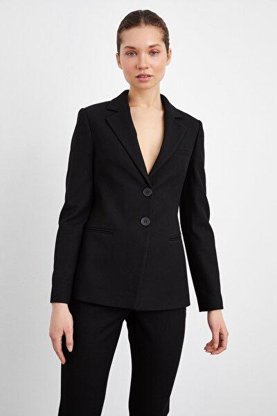 Kadın Siyah Fleto Cepli Ceket