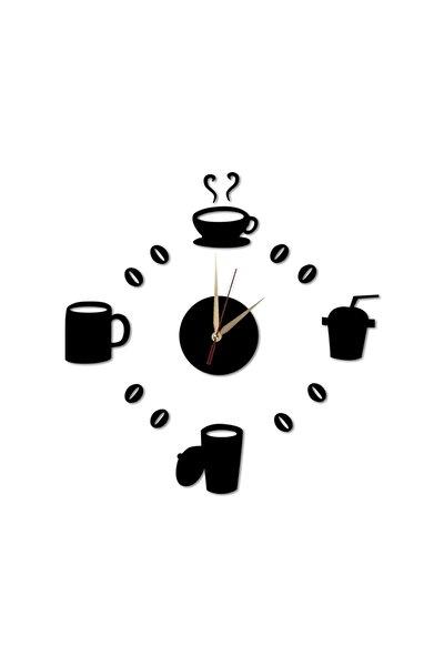 Lazer Kesim Kahve Çay Fincan Siyah Duvar Saati