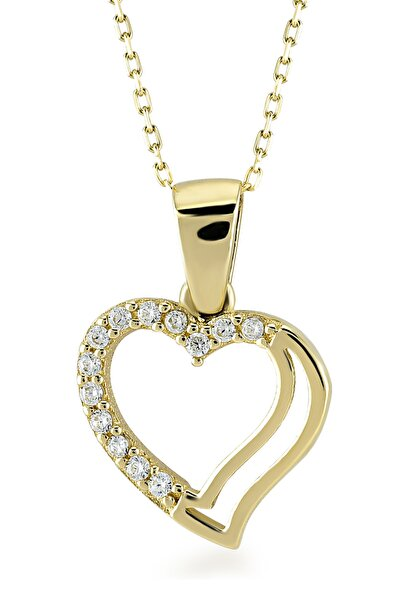 Diamond 14 Ayar Altın İkiz Kalp Kolye