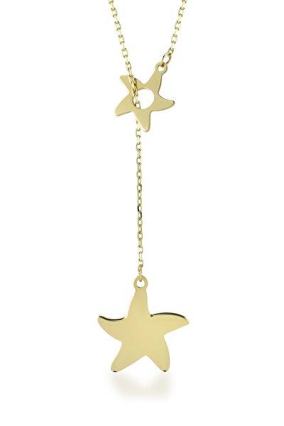 14 Ayar Altın Deniz Yıldızı Sallantılı Kolye