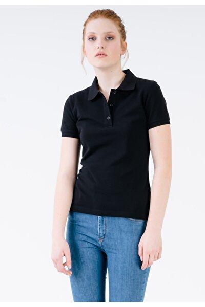 Kadın Siyah Slim Fit Polo Yaka Yırtmaç Detaylı T-shirt