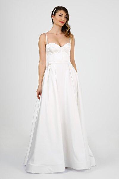 Beyaz Saten Balo Tipi Nikah Elbisesi Gelinlik