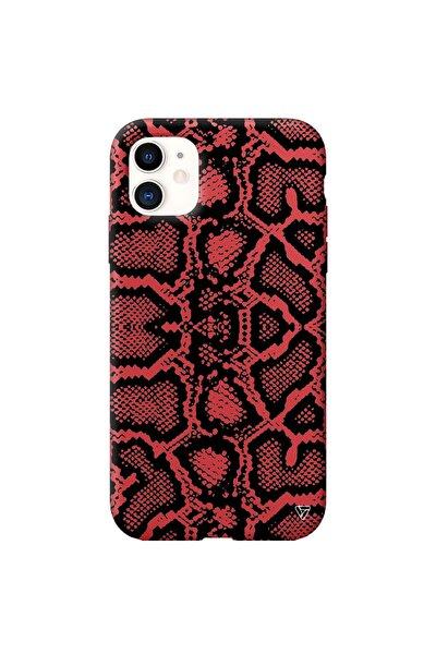 Iphone 11 Kırmızı Renkli Silikon Yılan Deseni Telefon Kılıfı