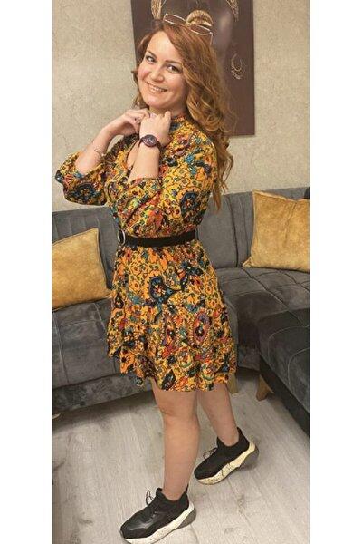 Kadın Renkli Desenli Elbise