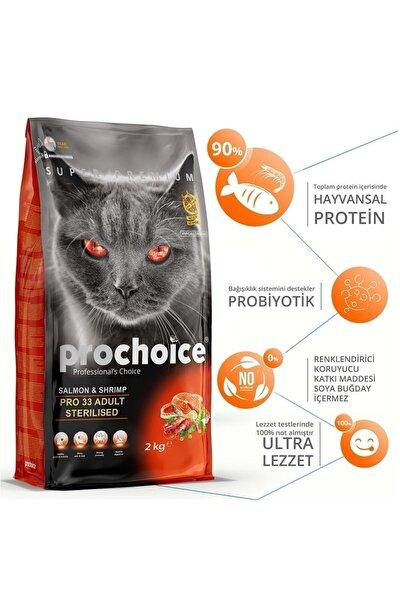 Pro Choice 33 Somonlu Ve Karidesli Düşük Tahıllı Kısırlaştırılmış Kedi Maması 2kg