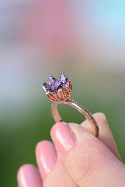 Kadın 14k Rose Altın Kaplama Mor Zirkon Taşlı Lotus Çiçeği Yüzük