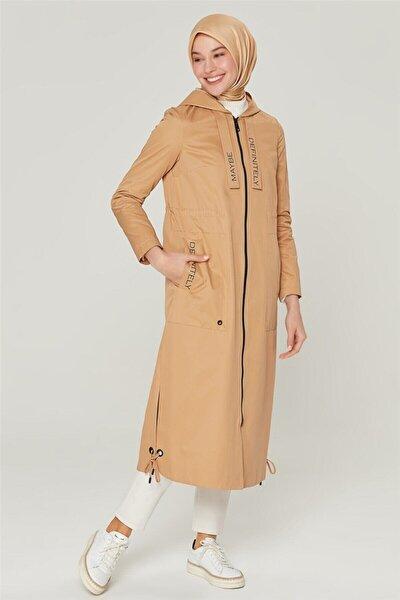 Kadın Camel Fermuarlı Trençkot