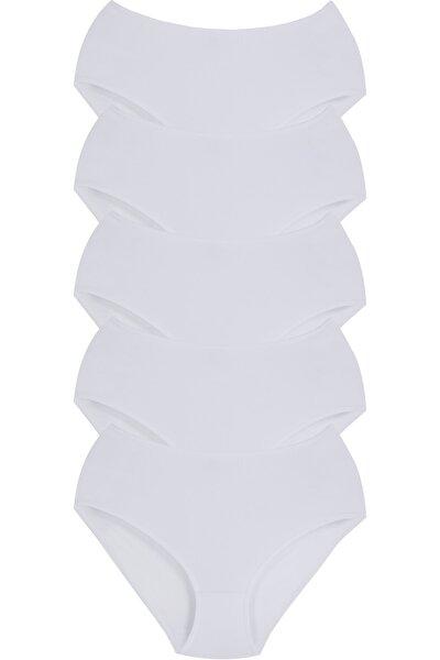Sensu Kadın Likralı Büyük Beden Bato Külot Beyaz 5li Paket Külot Seti