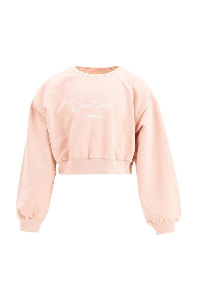 Kız Çocuk Yazı Baskılı Crop Sweatshirt
