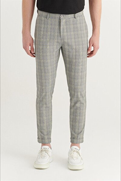 Erkek Gri Yandan Cepli Duble Paça Ekoseli Slim Fit Pantolon A11y3005