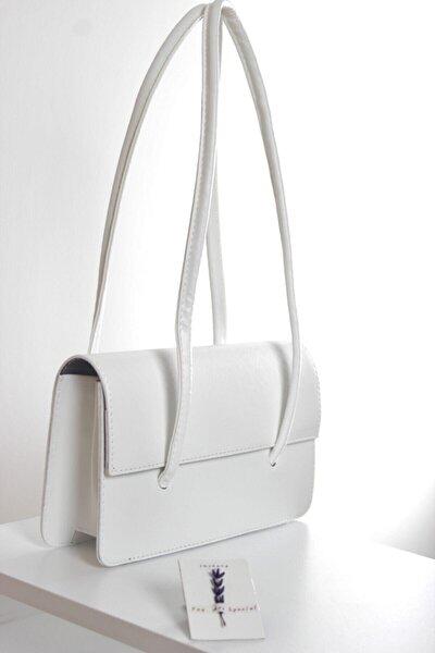 Loxxa Iki Saplı Beyaz Kadın Baguette Çanta