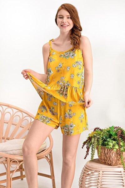 Kadın Daisy Sarı Homewear Şort Takım