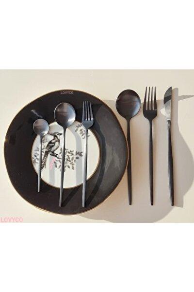 Siyah 6 Kişilik Çatal Kaşık Bıçak Seti 36 Parça