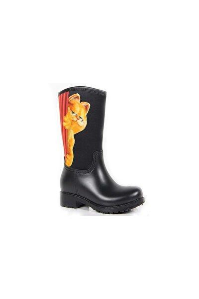 Kız Çocuk  Siyah Turuncu Garfield Yagmur Çizmesi