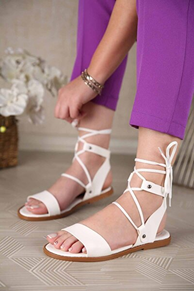 Kadın Bağlamalı Sandalet Beyaz