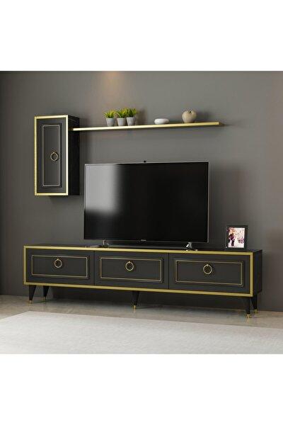 Vals Tv Ünitesi Yaşam Odası, Salon, Ve Oturma Odası, Tv Sehpası Mermerdesen-gold Bant