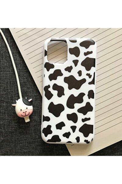 Iphone 11 Uyumlu Inek Desenli Kılıf Ve Kablo Koruyucu Set
