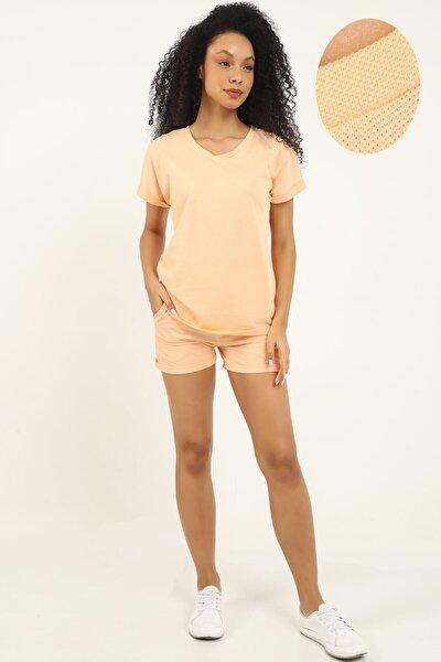 Kadın Somon Yazlık Giyim Alt Üst Şort Tişört Örme Takım