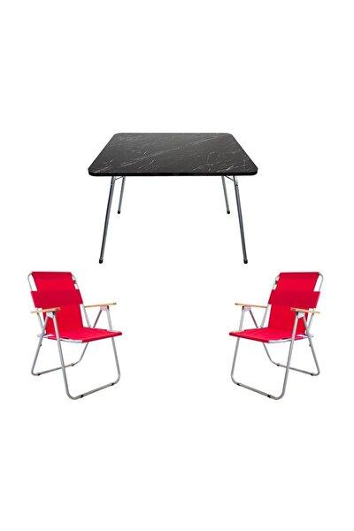 Granit Katlanır Masa + 2 Adet Katlanır Sandalye Kırmızı