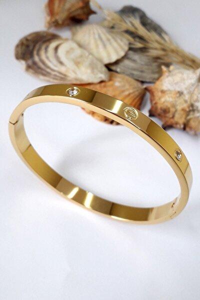 Kadın Zirkon Taşlı Paslanmaz Altın Kaplama Kelepçe Bileklik Bilezik 18 Cm